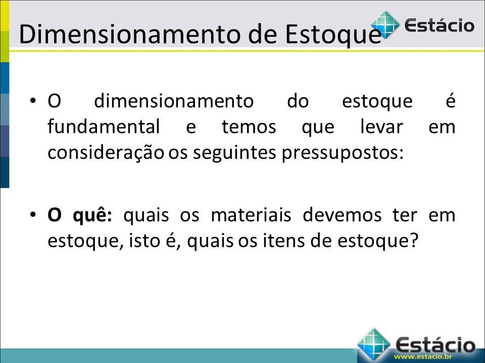 Dimensionamento de Estoque O dimensionamento do estoque é fundamental e temos que levar em consideração os seguintes pressupostos: O quê: quais os materiais devemos ter em estoque, isto é, quais os itens de estoque?