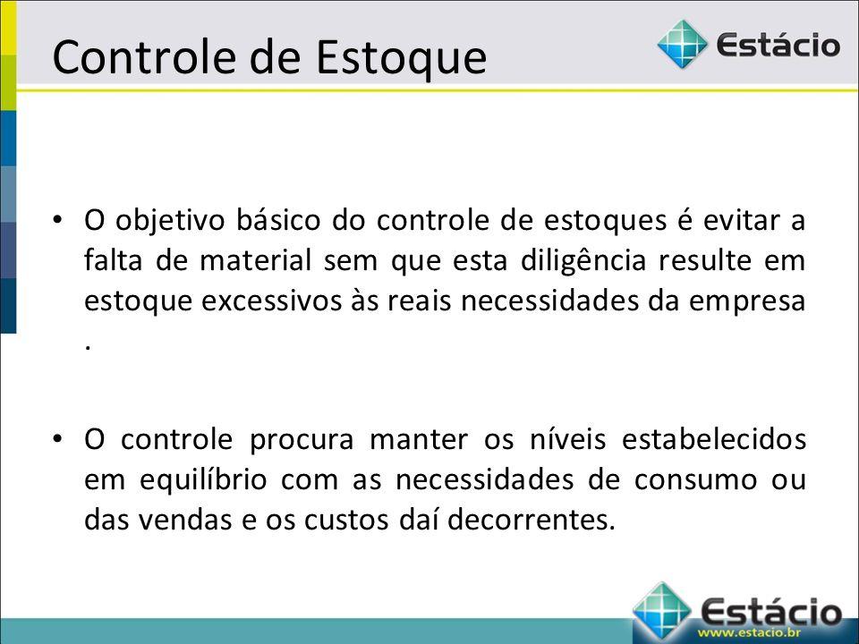 Controle de Estoque O objetivo básico do controle de estoques é evitar a falta de material sem que esta diligência resulte em estoque excessivos às reais necessidades da empresa.