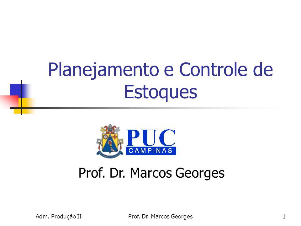 Adm. Produção IIProf. Dr. Marcos Georges1 Planejamento e Controle de Estoques Prof. Dr. Marcos Georges