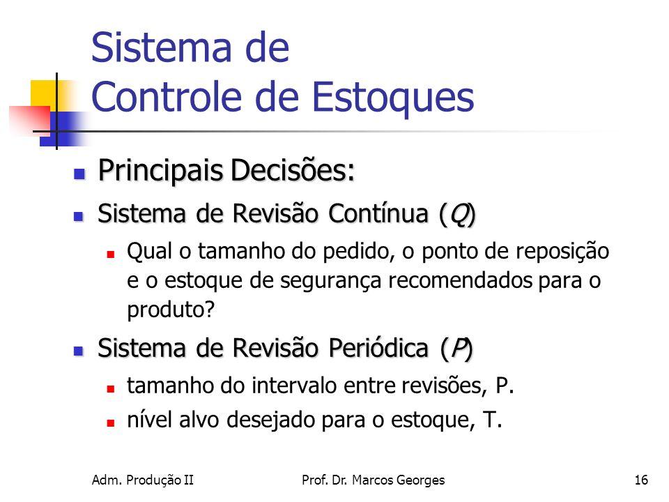 Adm. Produção IIProf. Dr. Marcos Georges16 Sistema de Controle de Estoques Principais Decisões: Principais Decisões: Sistema de Revisão Contínua (Q) S