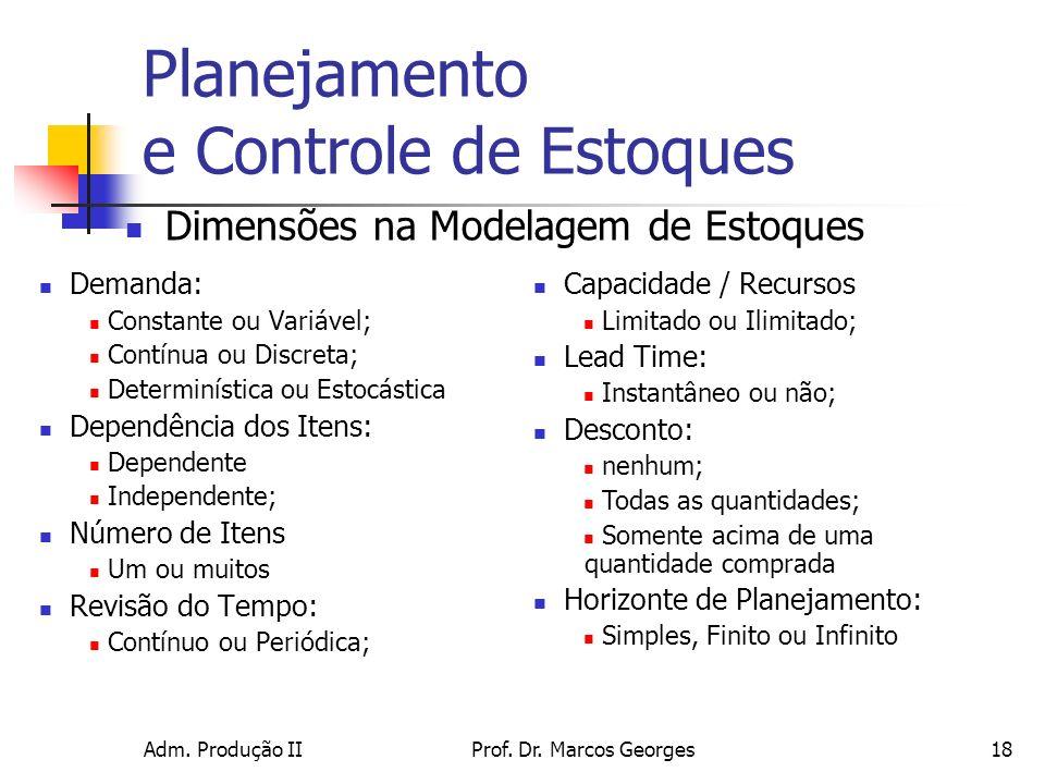 Adm. Produção IIProf. Dr. Marcos Georges18 Planejamento e Controle de Estoques Demanda: Constante ou Variável; Contínua ou Discreta; Determinística ou