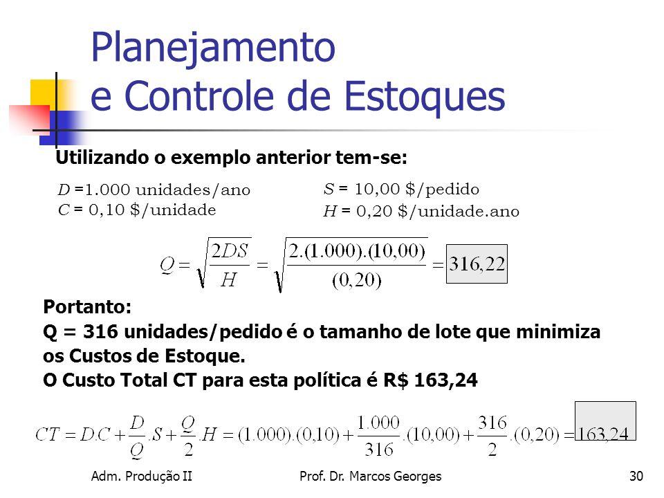 Adm. Produção IIProf. Dr. Marcos Georges30 Utilizando o exemplo anterior tem-se: D =1.000 unidades/ano C = 0,10 $/unidade Portanto: Q = 316 unidades/p