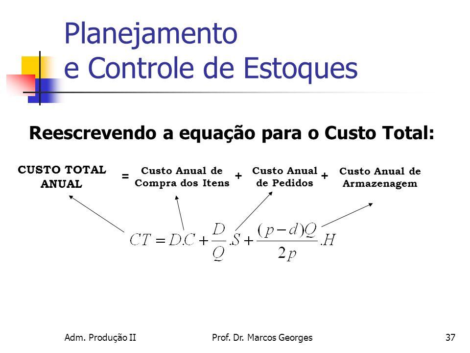 Adm. Produção IIProf. Dr. Marcos Georges37 Reescrevendo a equação para o Custo Total: Custo Anual de Armazenagem CUSTO TOTAL ANUAL Custo Anual de Comp