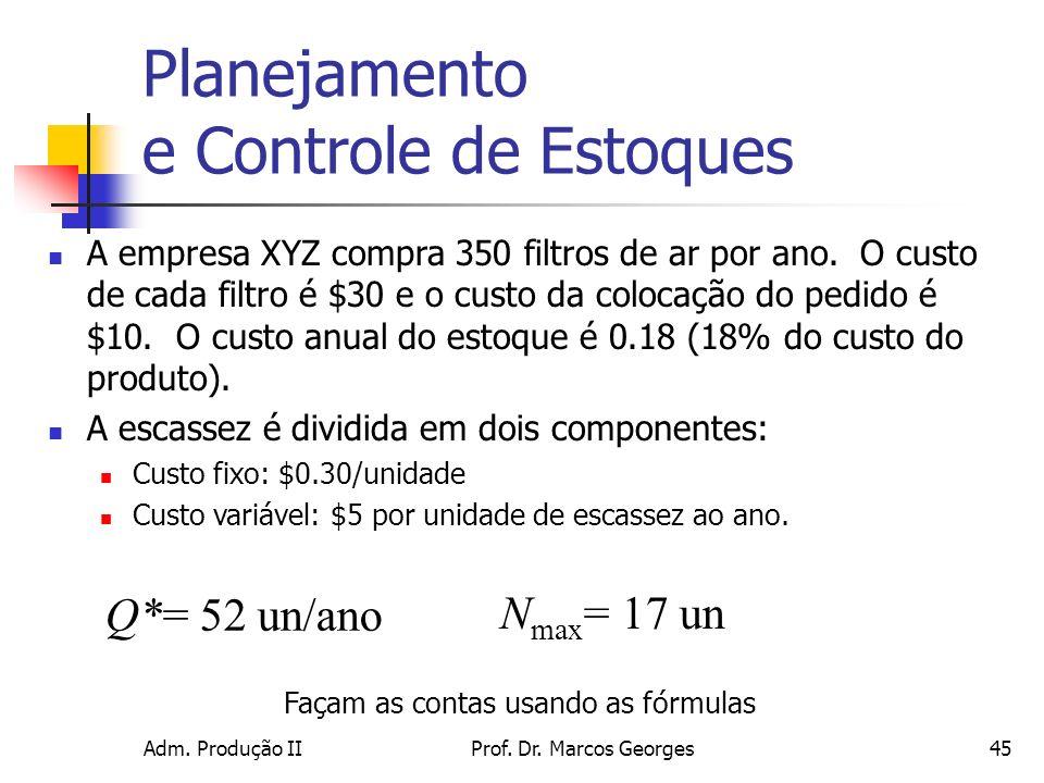 Adm. Produção IIProf. Dr. Marcos Georges45 Planejamento e Controle de Estoques A empresa XYZ compra 350 filtros de ar por ano. O custo de cada filtro