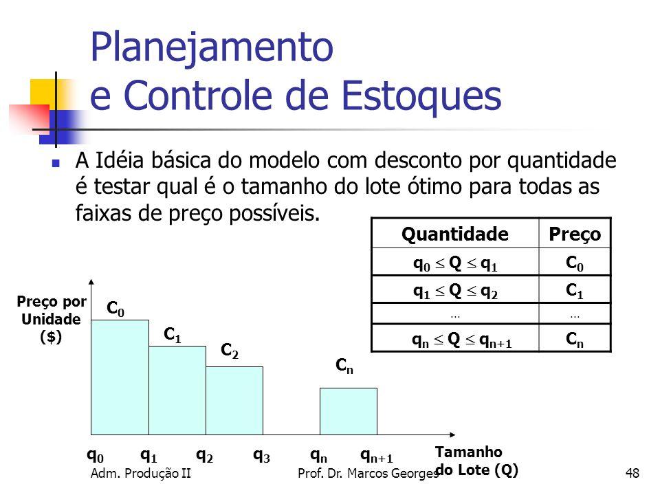 Adm. Produção IIProf. Dr. Marcos Georges48 Planejamento e Controle de Estoques A Idéia básica do modelo com desconto por quantidade é testar qual é o