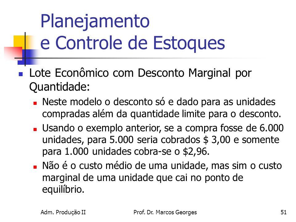 Adm. Produção IIProf. Dr. Marcos Georges51 Planejamento e Controle de Estoques Lote Econômico com Desconto Marginal por Quantidade: Neste modelo o des