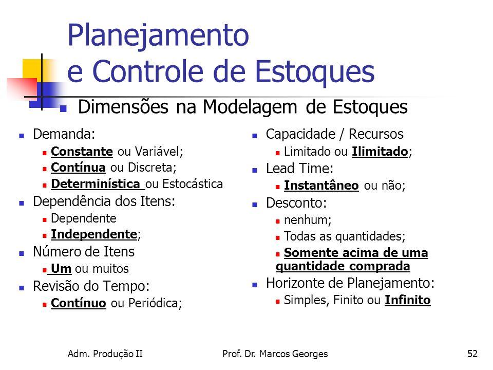 Adm. Produção IIProf. Dr. Marcos Georges52 Planejamento e Controle de Estoques Demanda: Constante ou Variável; Contínua ou Discreta; Determinística ou