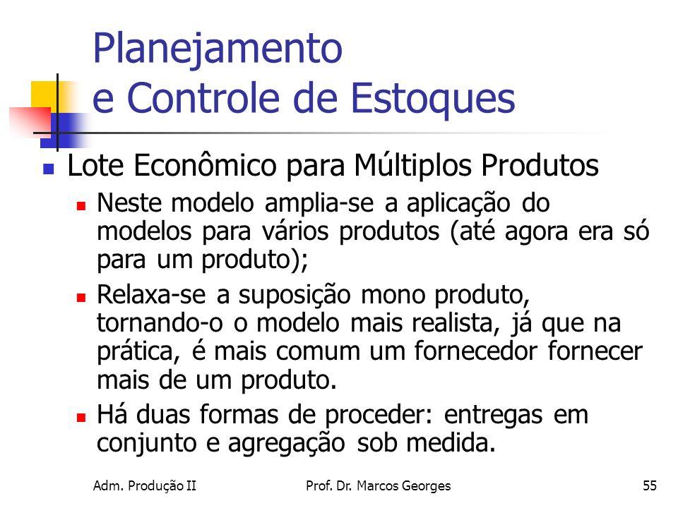 Adm. Produção IIProf. Dr. Marcos Georges55 Planejamento e Controle de Estoques Lote Econômico para Múltiplos Produtos Neste modelo amplia-se a aplicaç