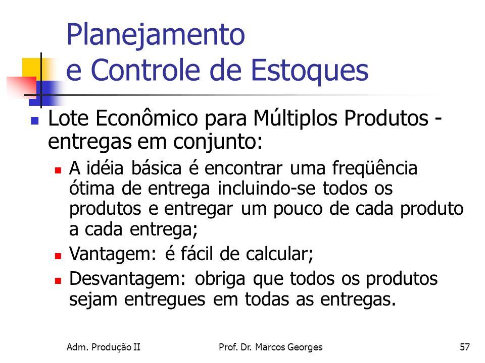 Adm. Produção IIProf. Dr. Marcos Georges57 Planejamento e Controle de Estoques Lote Econômico para Múltiplos Produtos - entregas em conjunto: A idéia