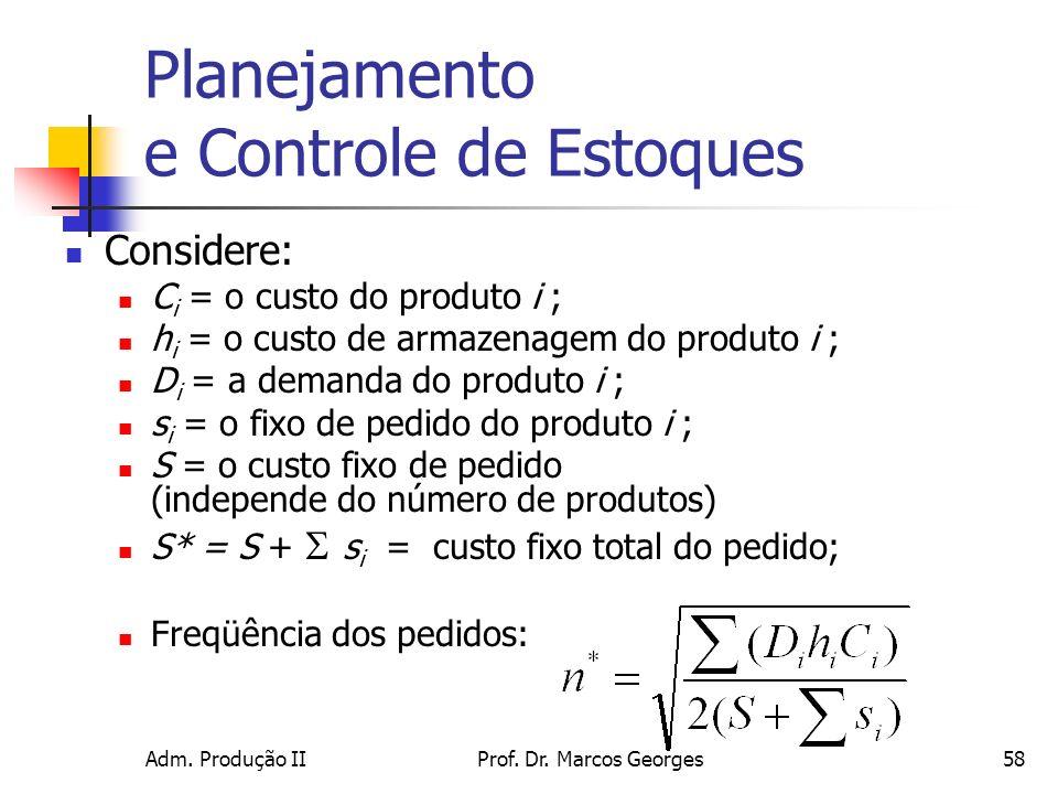 Adm. Produção IIProf. Dr. Marcos Georges58 Planejamento e Controle de Estoques Considere: C i = o custo do produto i ; h i = o custo de armazenagem do