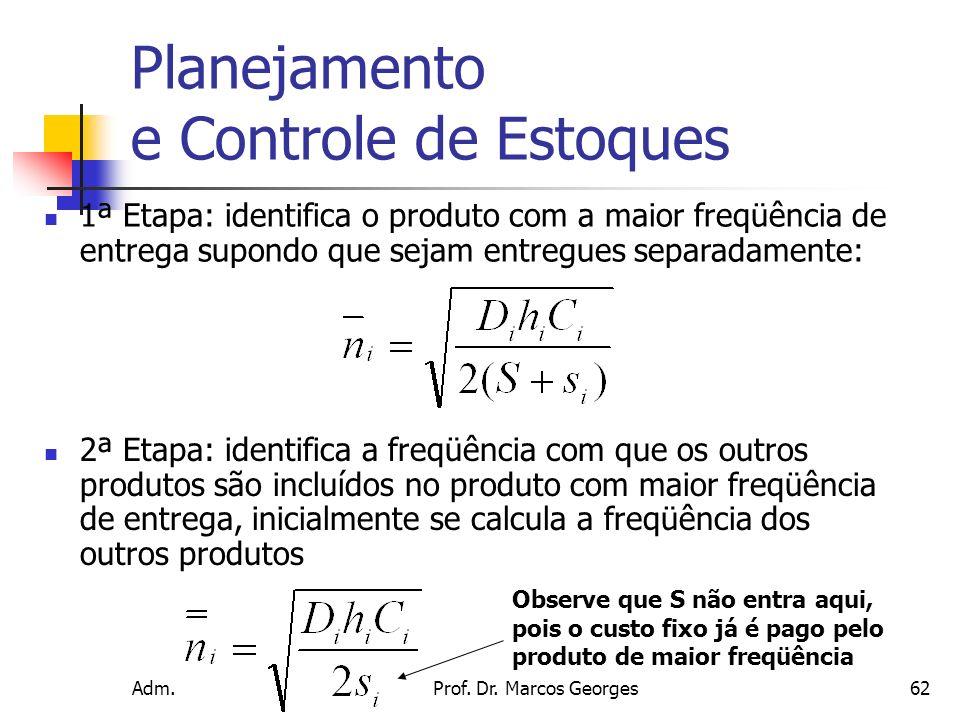 Adm. Produção IIProf. Dr. Marcos Georges62 Planejamento e Controle de Estoques 1ª Etapa: identifica o produto com a maior freqüência de entrega supond