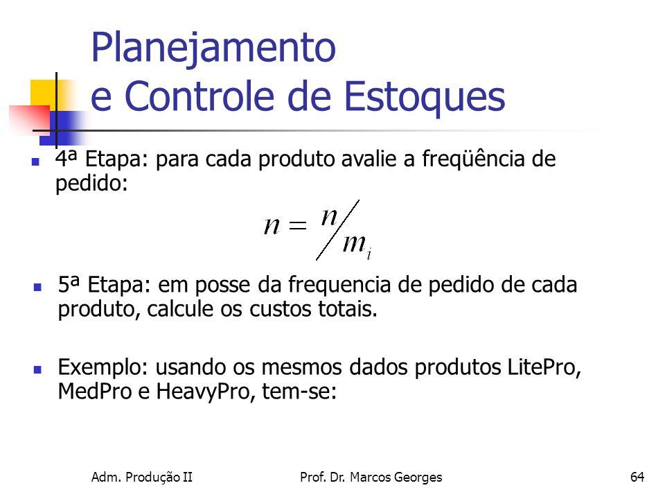 Adm. Produção IIProf. Dr. Marcos Georges64 Planejamento e Controle de Estoques 4ª Etapa: para cada produto avalie a freqüência de pedido: 5ª Etapa: em