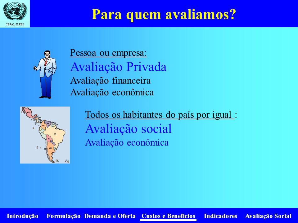 CEPAL/ILPES Introdução Formulação Demanda e Oferta Custos e Beneficios Indicadores Avaliação Social Como valorizamos.
