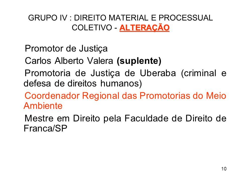 10 ALTERAÇÃO GRUPO IV : DIREITO MATERIAL E PROCESSUAL COLETIVO - ALTERAÇÃO Promotor de Justiça Carlos Alberto Valera (suplente) Promotoria de Justiça