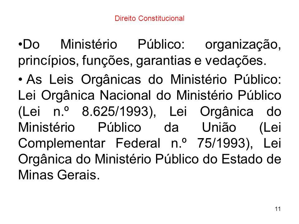 11 Direito Constitucional Do Ministério Público: organização, princípios, funções, garantias e vedações. As Leis Orgânicas do Ministério Público: Lei