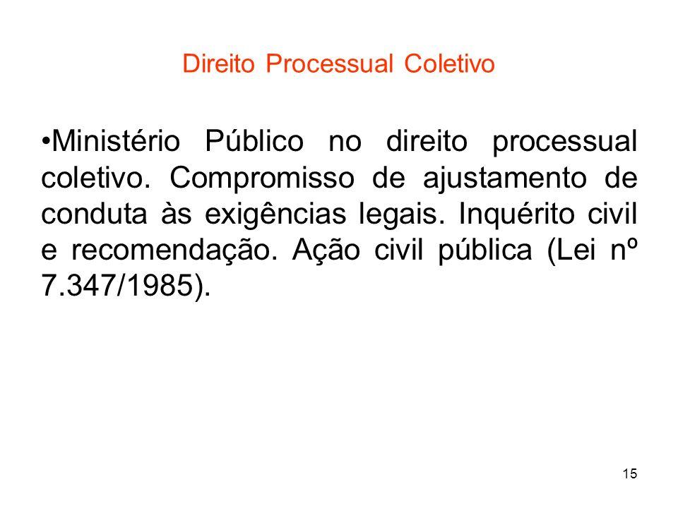 15 Direito Processual Coletivo Ministério Público no direito processual coletivo. Compromisso de ajustamento de conduta às exigências legais. Inquérit