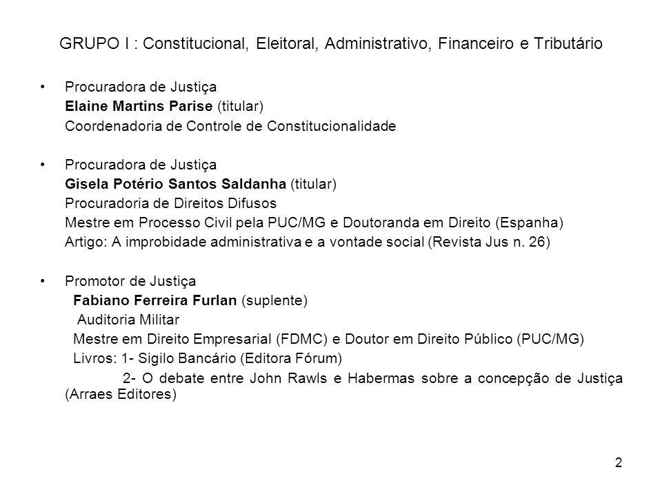 2 GRUPO I : Constitucional, Eleitoral, Administrativo, Financeiro e Tributário Procuradora de Justiça Elaine Martins Parise (titular) Coordenadoria de
