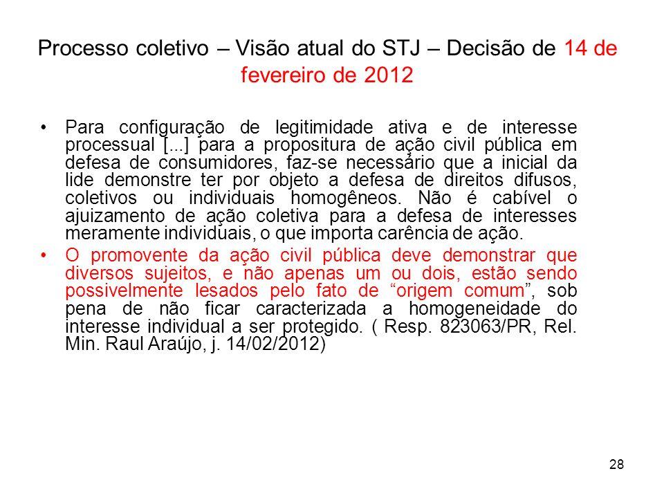 28 Processo coletivo – Visão atual do STJ – Decisão de 14 de fevereiro de 2012 Para configuração de legitimidade ativa e de interesse processual [...]