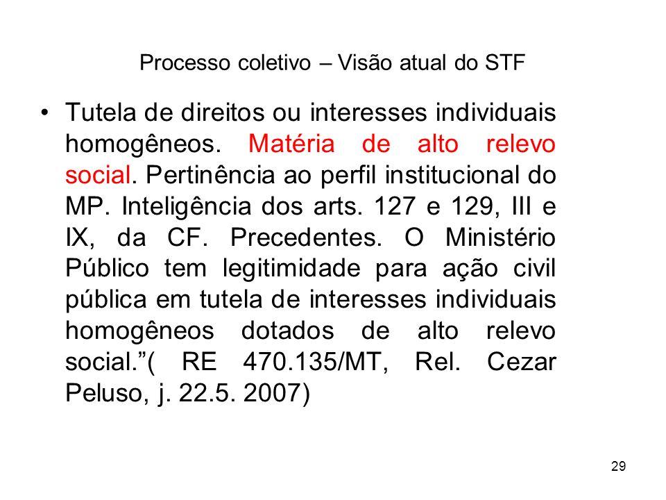 29 Processo coletivo – Visão atual do STF Tutela de direitos ou interesses individuais homogêneos. Matéria de alto relevo social. Pertinência ao perfi