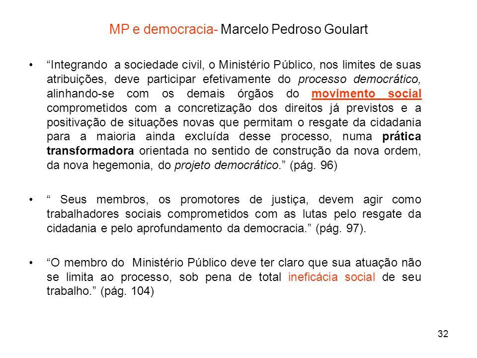 32 MP e democracia- Marcelo Pedroso Goulart Integrando a sociedade civil, o Ministério Público, nos limites de suas atribuições, deve participar efeti