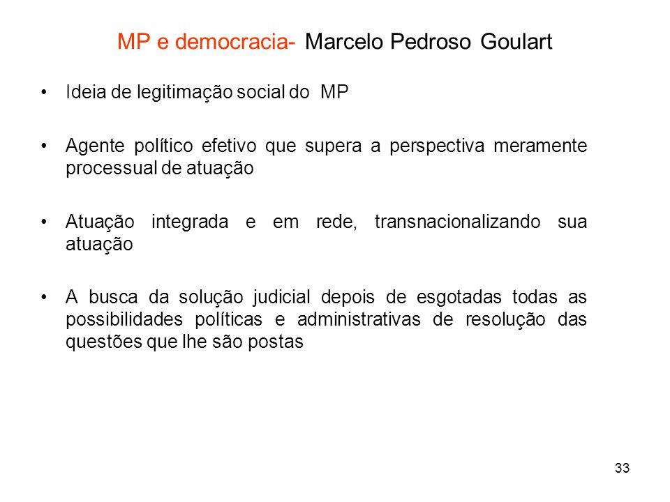 33 MP e democracia- Marcelo Pedroso Goulart Ideia de legitimação social do MP Agente político efetivo que supera a perspectiva meramente processual de
