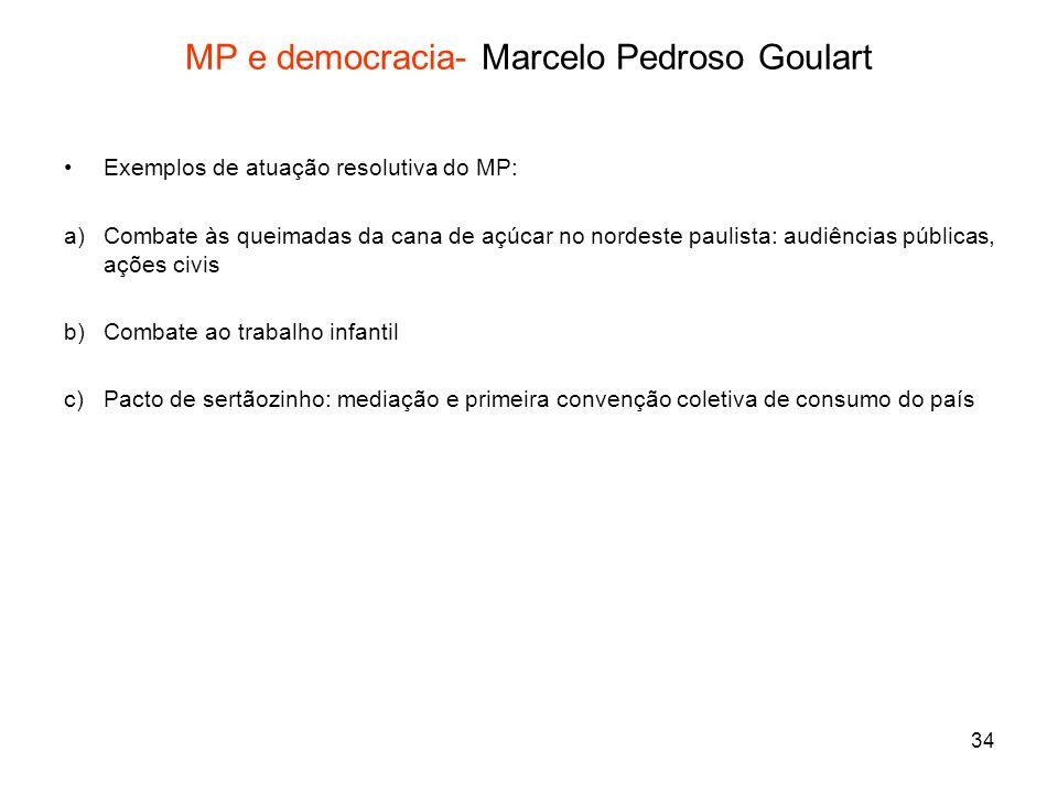 34 MP e democracia- Marcelo Pedroso Goulart Exemplos de atuação resolutiva do MP: a)Combate às queimadas da cana de açúcar no nordeste paulista: audiê
