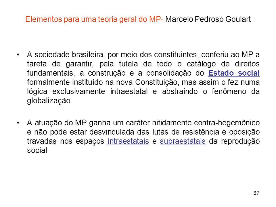 37 Elementos para uma teoria geral do MP- Marcelo Pedroso Goulart A sociedade brasileira, por meio dos constituintes, conferiu ao MP a tarefa de garan