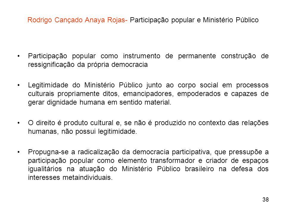 38 Rodrigo Cançado Anaya Rojas- Participação popular e Ministério Público Participação popular como instrumento de permanente construção de ressignifi