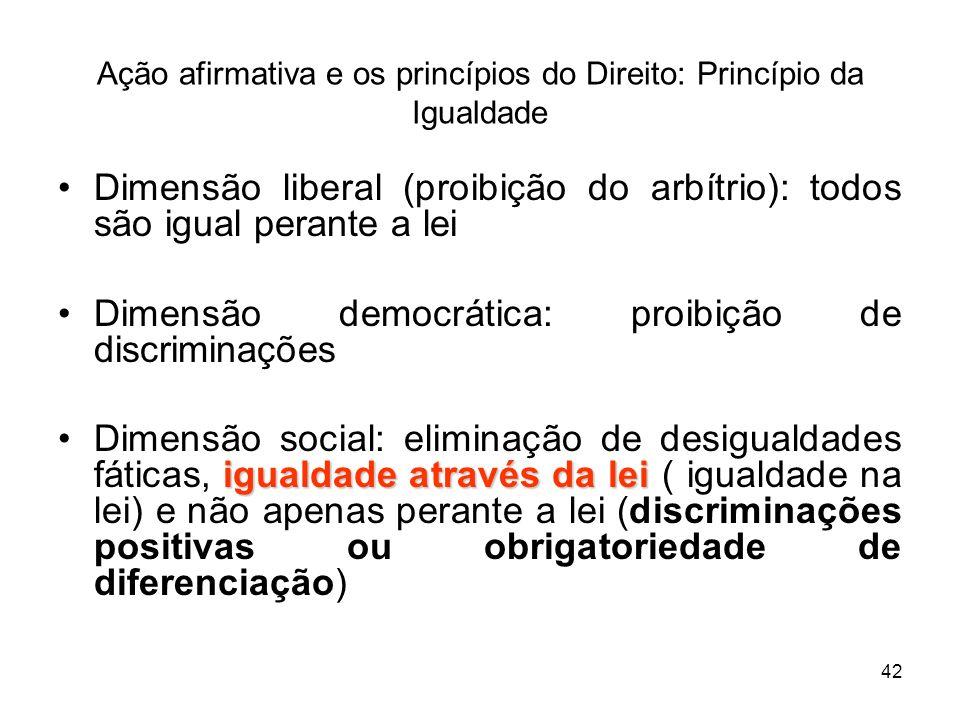 42 Ação afirmativa e os princípios do Direito: Princípio da Igualdade Dimensão liberal (proibição do arbítrio): todos são igual perante a lei Dimensão