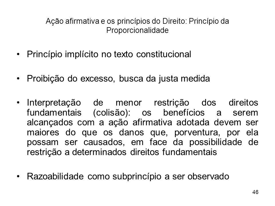 46 Ação afirmativa e os princípios do Direito: Princípio da Proporcionalidade Princípio implícito no texto constitucional Proibição do excesso, busca