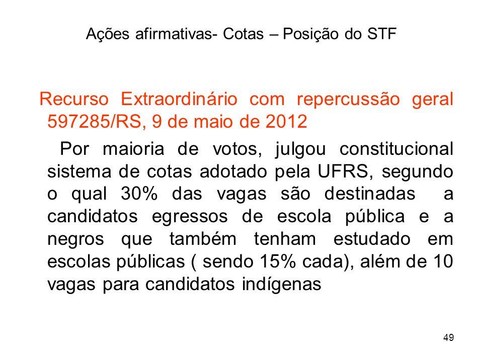 49 Ações afirmativas- Cotas – Posição do STF Recurso Extraordinário com repercussão geral 597285/RS, 9 de maio de 2012 Por maioria de votos, julgou co