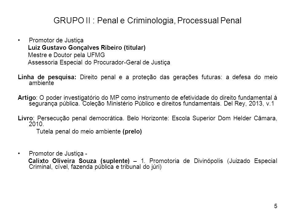 5 GRUPO II : Penal e Criminologia, Processual Penal Promotor de Justiça Luiz Gustavo Gonçalves Ribeiro (titular) Mestre e Doutor pela UFMG Assessoria