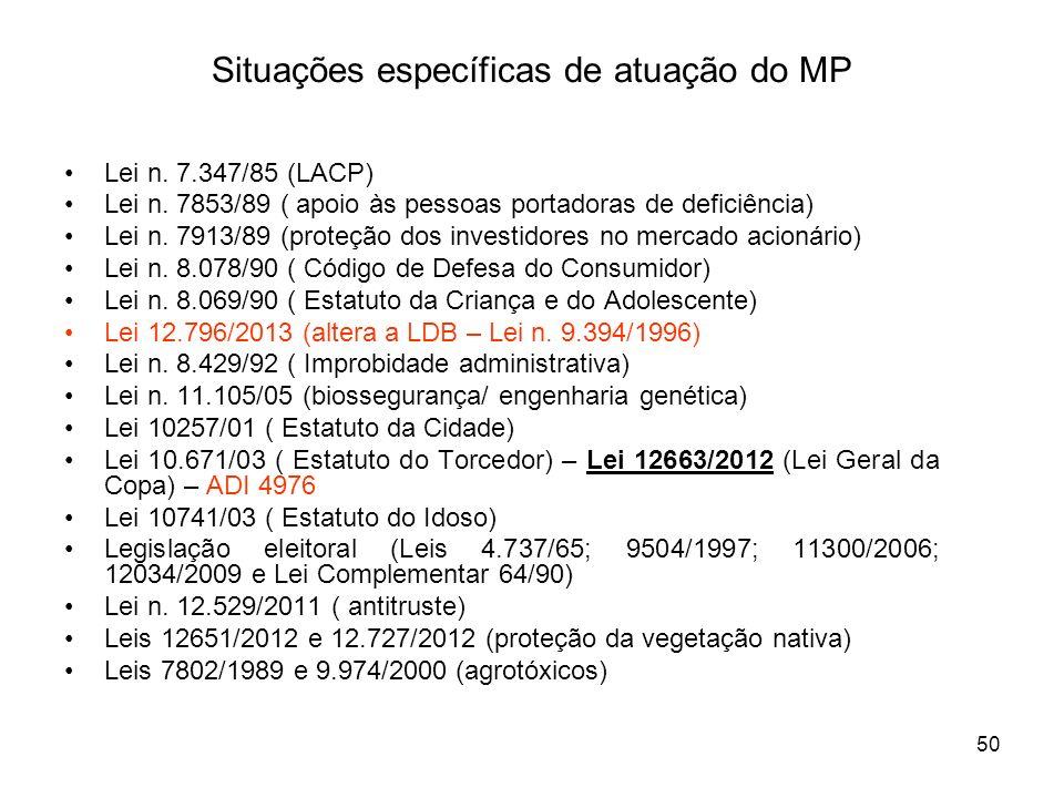 50 Situações específicas de atuação do MP Lei n. 7.347/85 (LACP) Lei n. 7853/89 ( apoio às pessoas portadoras de deficiência) Lei n. 7913/89 (proteção