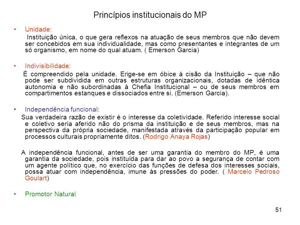 51 Princípios institucionais do MP Unidade: Instituição única, o que gera reflexos na atuação de seus membros que não devem ser concebidos em sua indi