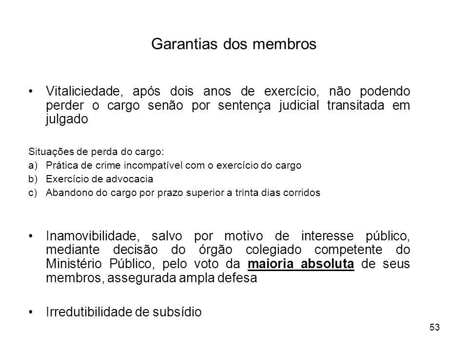 53 Garantias dos membros Vitaliciedade, após dois anos de exercício, não podendo perder o cargo senão por sentença judicial transitada em julgado Situ