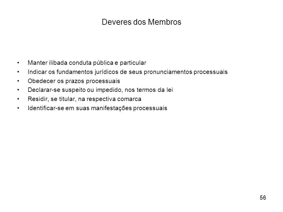56 Deveres dos Membros Manter ilibada conduta pública e particular Indicar os fundamentos jurídicos de seus pronunciamentos processuais Obedecer os pr