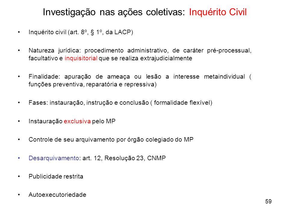 59 Investigação nas ações coletivas: Inquérito Civil Inquérito civil (art. 8º, § 1º, da LACP) Natureza jurídica: procedimento administrativo, de carát