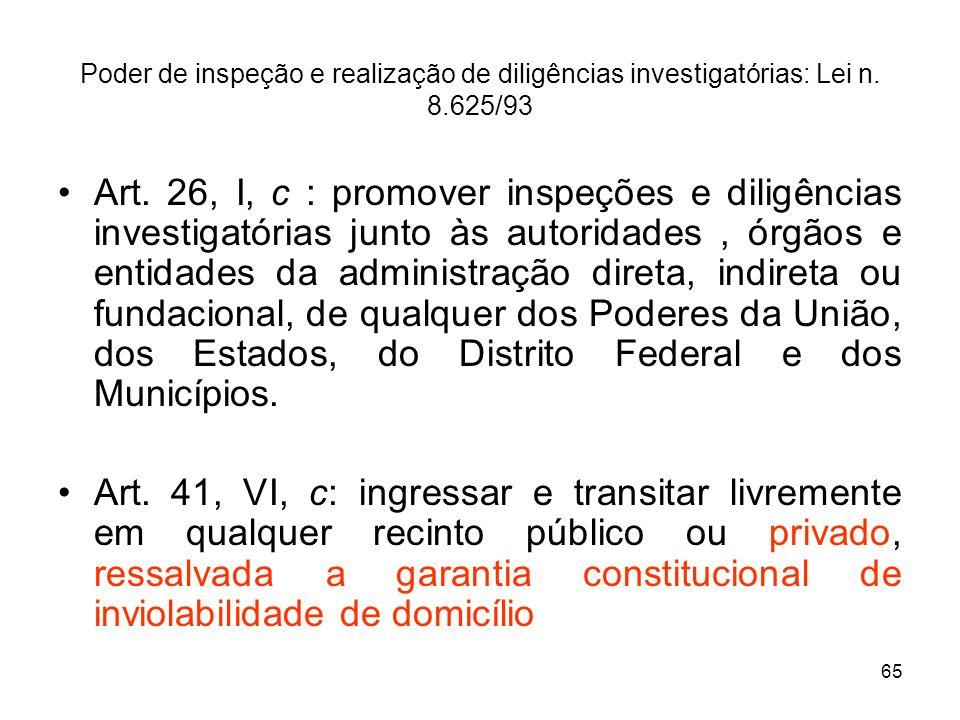 65 Poder de inspeção e realização de diligências investigatórias: Lei n. 8.625/93 Art. 26, I, c : promover inspeções e diligências investigatórias jun