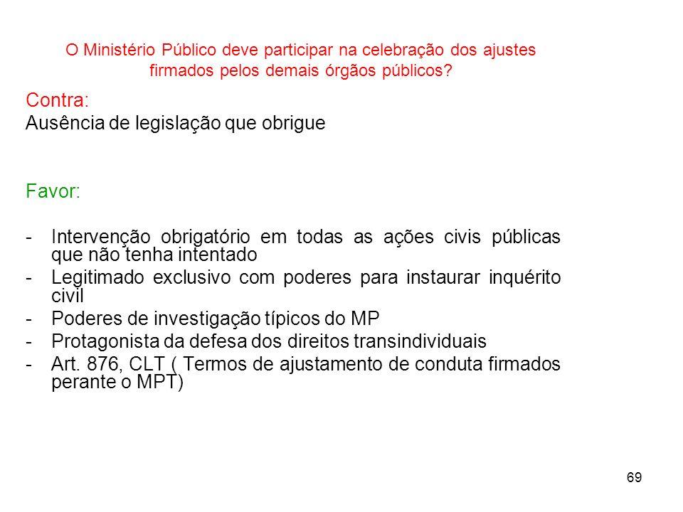 69 O Ministério Público deve participar na celebração dos ajustes firmados pelos demais órgãos públicos? Contra: Ausência de legislação que obrigue Fa