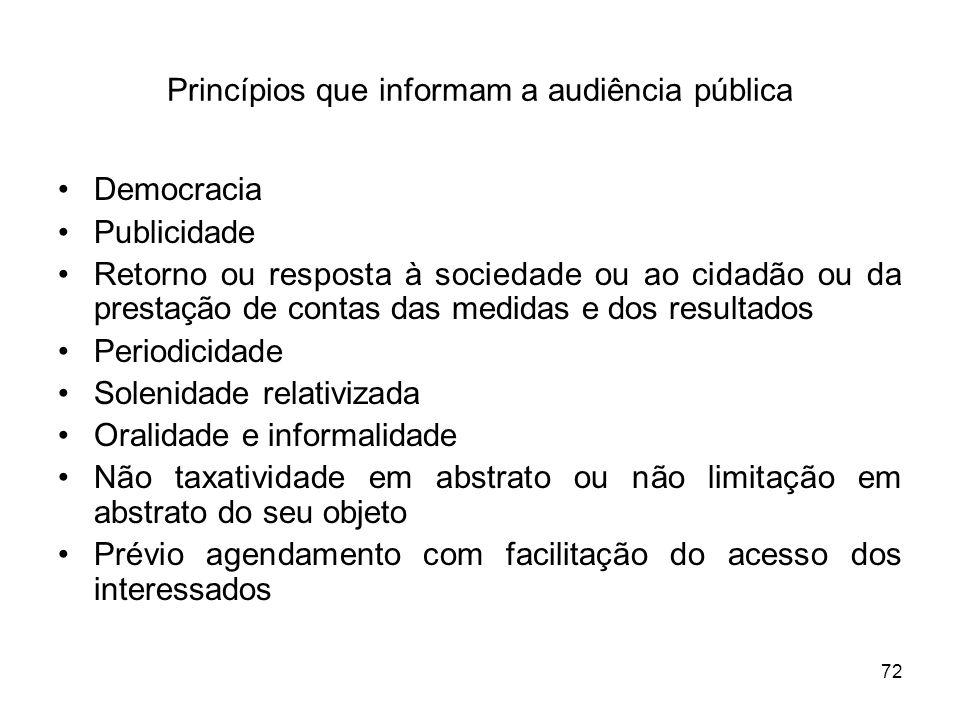 72 Princípios que informam a audiência pública Democracia Publicidade Retorno ou resposta à sociedade ou ao cidadão ou da prestação de contas das medi