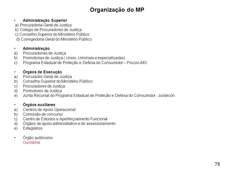 76 Organização do MP Administração Superior a) Procuradoria-Geral de Justiça b) Colégio de Procuradores de Justiça c) Conselho Superior do Ministério