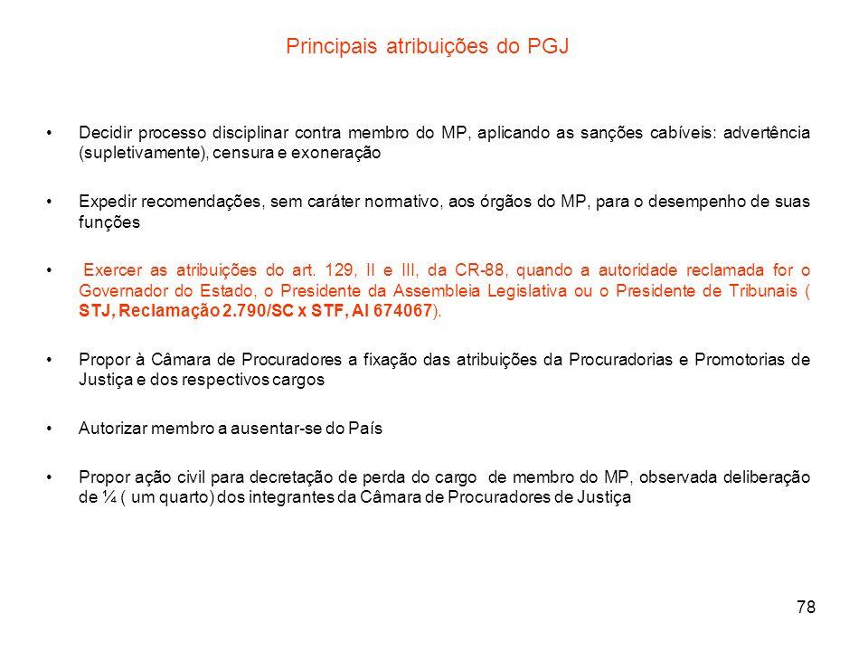 78 Principais atribuições do PGJ Decidir processo disciplinar contra membro do MP, aplicando as sanções cabíveis: advertência (supletivamente), censur