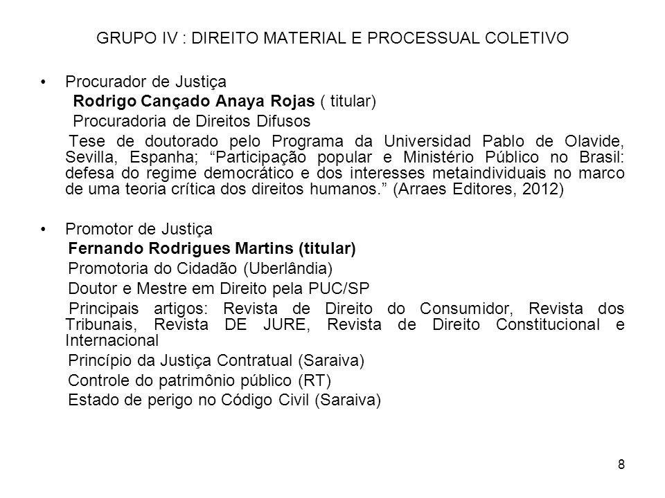 8 GRUPO IV : DIREITO MATERIAL E PROCESSUAL COLETIVO Procurador de Justiça Rodrigo Cançado Anaya Rojas ( titular) Procuradoria de Direitos Difusos Tese