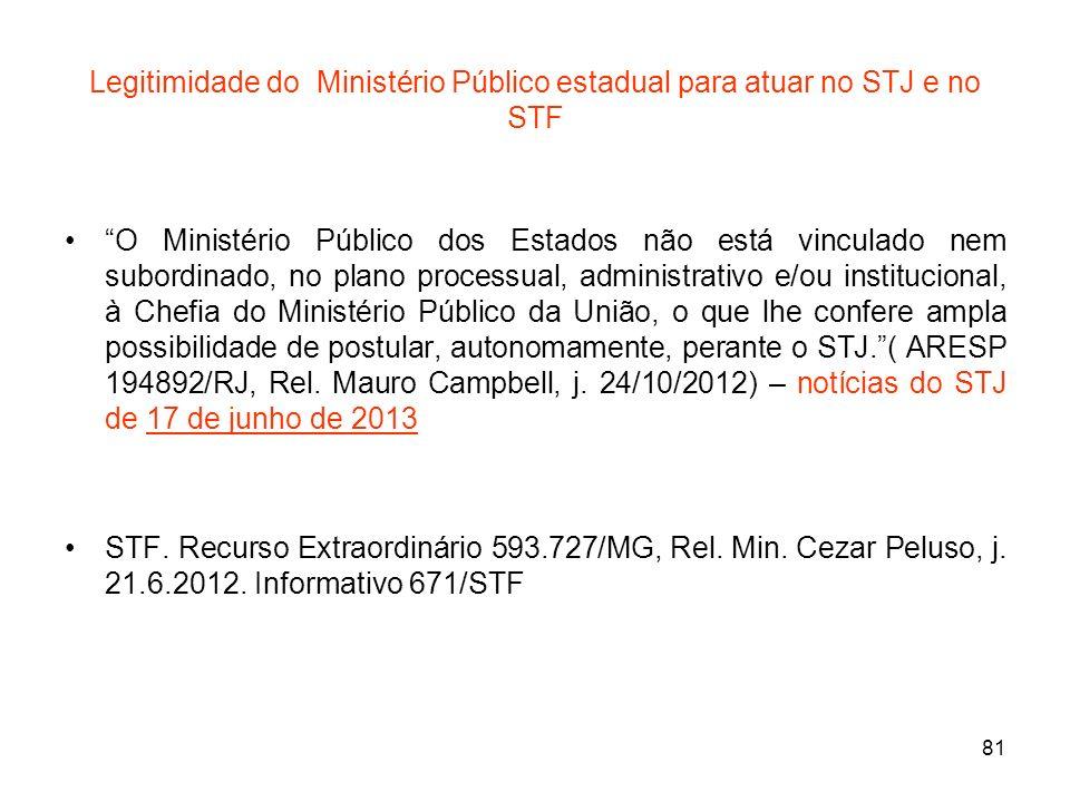 81 Legitimidade do Ministério Público estadual para atuar no STJ e no STF O Ministério Público dos Estados não está vinculado nem subordinado, no plan