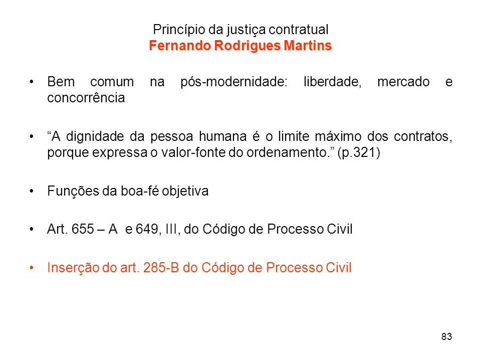 83 Fernando Rodrigues Martins Princípio da justiça contratual Fernando Rodrigues Martins Bem comum na pós-modernidade: liberdade, mercado e concorrênc