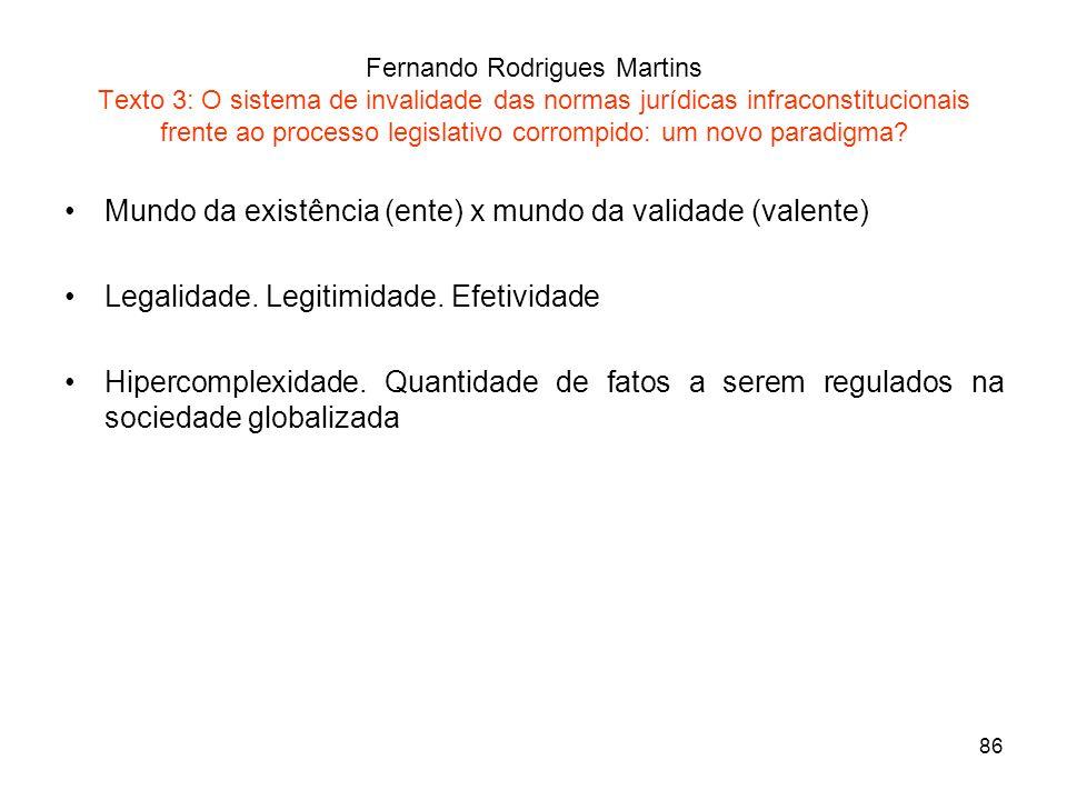 86 Fernando Rodrigues Martins Texto 3: O sistema de invalidade das normas jurídicas infraconstitucionais frente ao processo legislativo corrompido: um