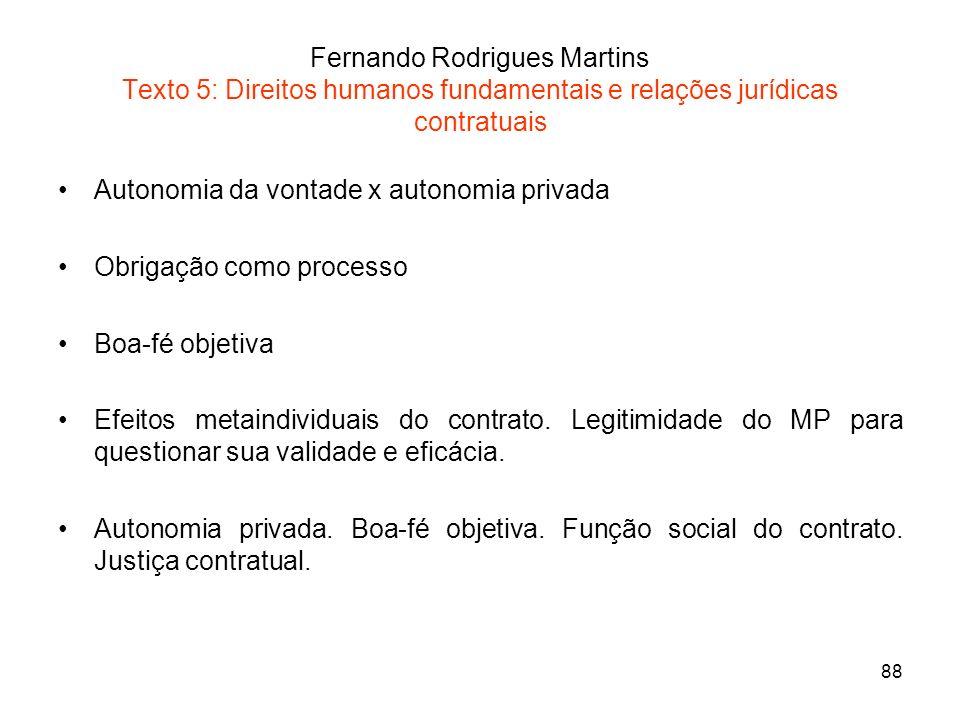 88 Fernando Rodrigues Martins Texto 5: Direitos humanos fundamentais e relações jurídicas contratuais Autonomia da vontade x autonomia privada Obrigaç