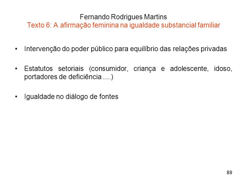 89 Fernando Rodrigues Martins Texto 6: A afirmação feminina na igualdade substancial familiar Intervenção do poder público para equilíbrio das relaçõe