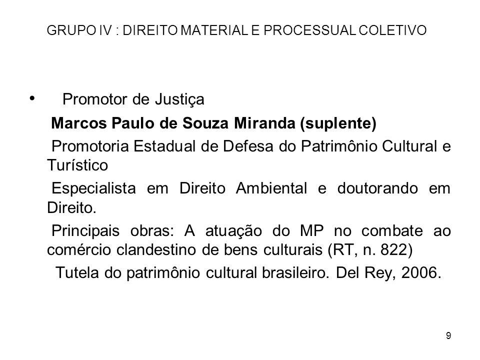 9 GRUPO IV : DIREITO MATERIAL E PROCESSUAL COLETIVO Promotor de Justiça Marcos Paulo de Souza Miranda (suplente) Promotoria Estadual de Defesa do Patr