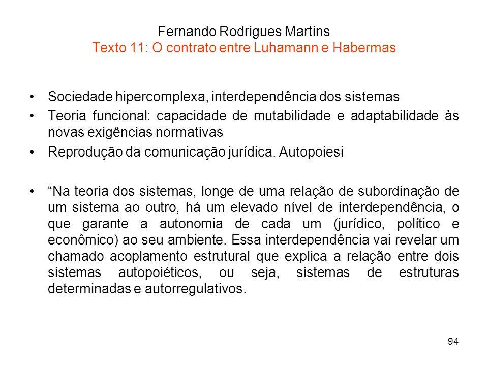 94 Fernando Rodrigues Martins Texto 11: O contrato entre Luhamann e Habermas Sociedade hipercomplexa, interdependência dos sistemas Teoria funcional: